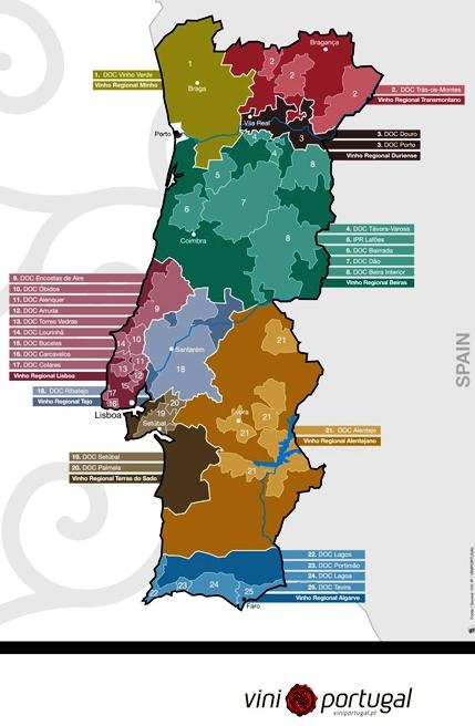 Portugal - mapa e regiões produtoras